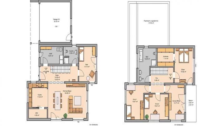 Planta moderna e arrojada com 4 quartos e 2 banheiros