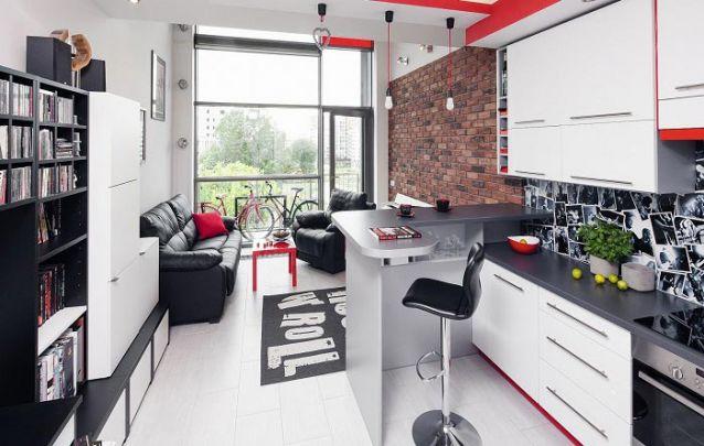 Pequena cozinha planejada jovem e irreverente