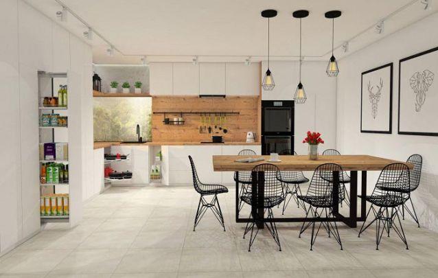 Uma bela cozinha elaborada a partir de vários armários planejados