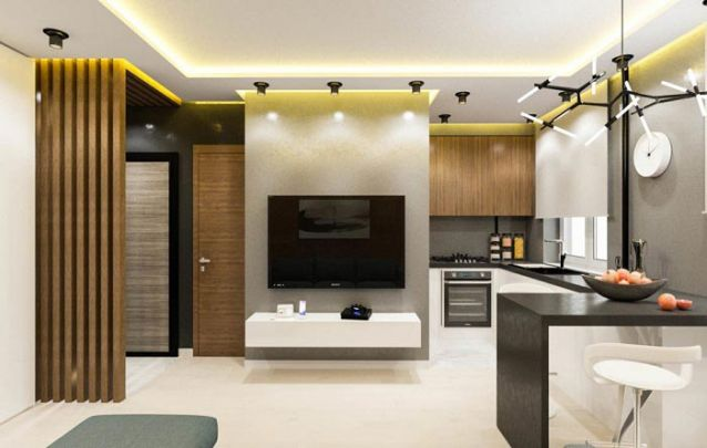 Cozinha e sala de estar integradas pedem móveis planejados para criar uma harmonia entre os ambientes