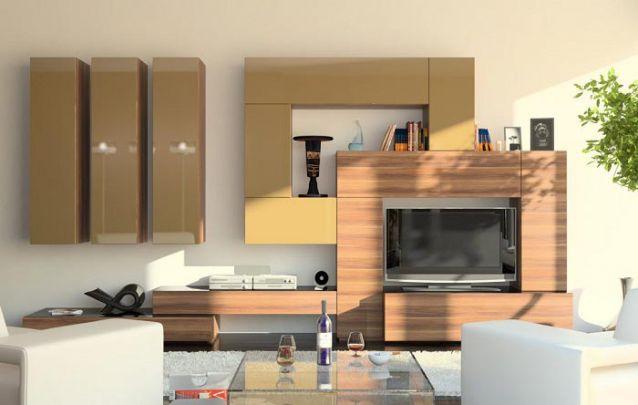 Móveis planejados assimétricos criam um visual inusitado e interessante para esta sala de estar