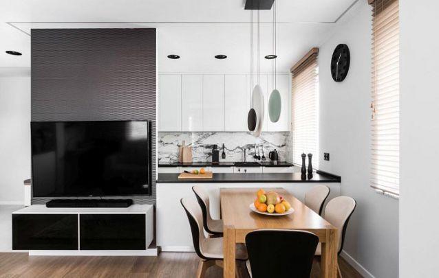 Móveis planejados para combinar sala de estar e cozinha integradas