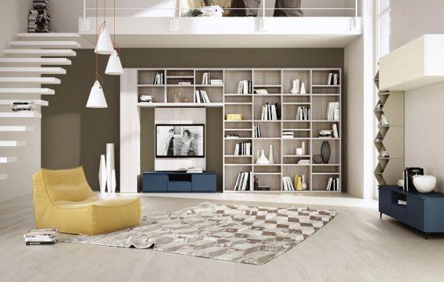 Uma estante de nichos é atual para compor uma sala de estar