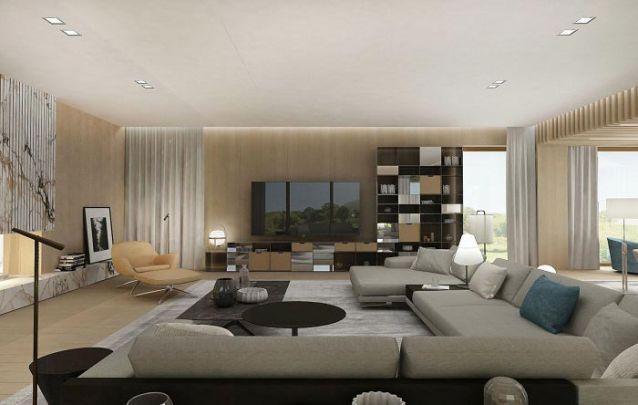 Detalhes em espelho deixam os móveis planejados desta sala de estar mais elegantes