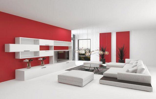A estante planejada desta sala de estar traz toques contemporâneos para o ambiente