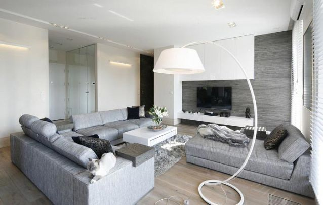 Branco e cinza, uma combinação atual para móveis projetados
