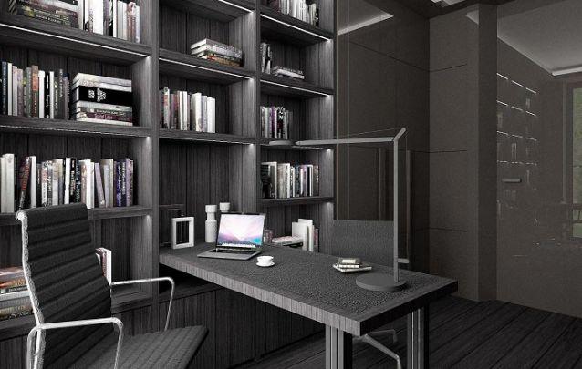 Elegante escritório montado a partir de móveis projetados