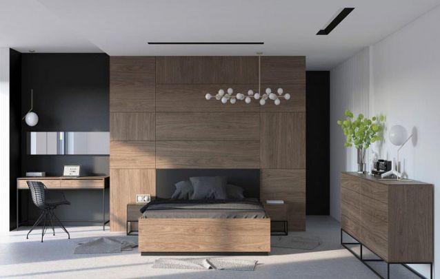 Apostar em um mesmo revestimento para todos os móveis projetados do cômodo, cria uma harmonia no quarto