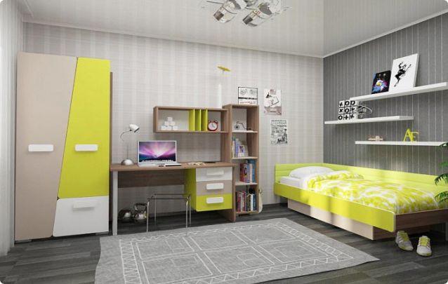 Um quarto juvenil com móveis planejados divertidos e coloridos