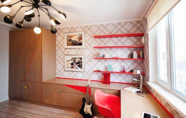 Móveis planejados para um quarto moderno de adolescente
