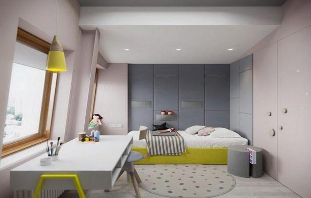 Quarto infantil com modernos móveis planejados