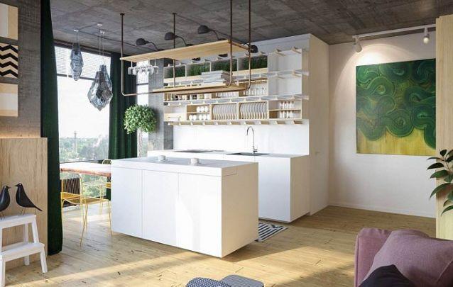 Cozinha americana branca e minimalista, mas sem perder a sua linda personalidade
