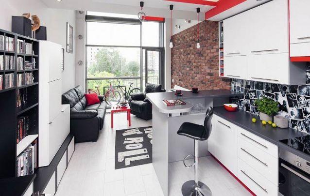 Uma pequena cozinha ao estilo americano para um apartamento cheio de atitude