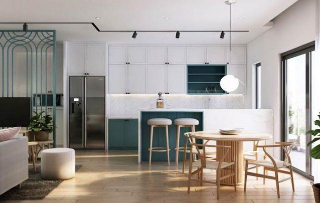 Branco e azul, para este lindo projeto que mescla o clássico com o contemporâneo
