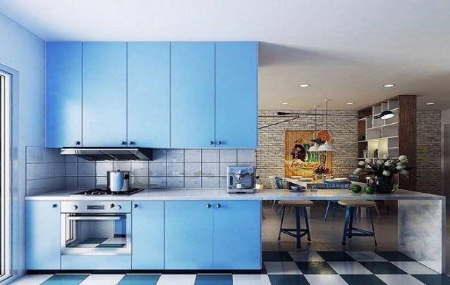 Uma linda cozinha americana retrô e azul para os amantes deste estilo