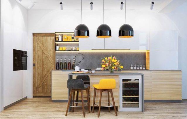 Toques de amarelo caem muito bem em uma cozinha americana moderna