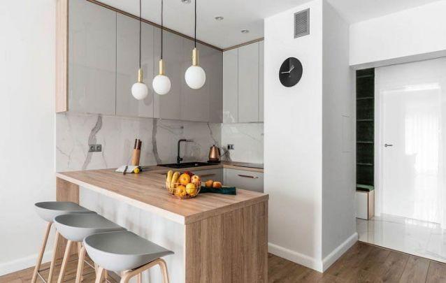 Cozinha planejada americana para um pequeno apartamento