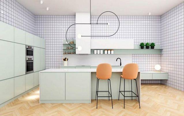 O verde menta traz à tona o espírito retrô para esta cozinha americana