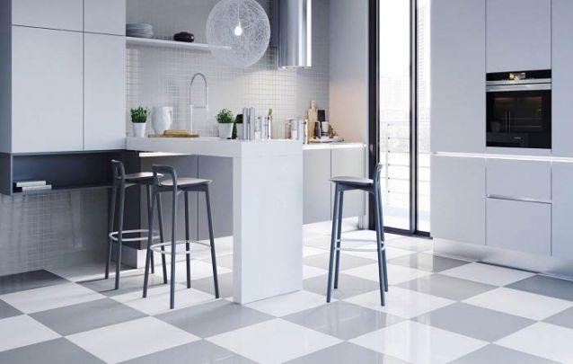 Branco e cinza é uma combinação sútil e atual para compor sua cozinha americana planejada