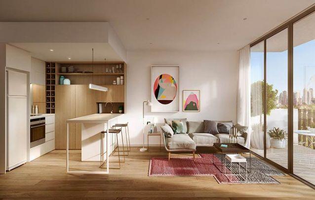 Cozinha americana pequena em harmonia com a sala de estar