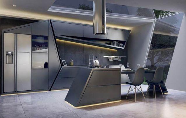 Os armários assimétricos se tornam o destaque desta cozinha americana