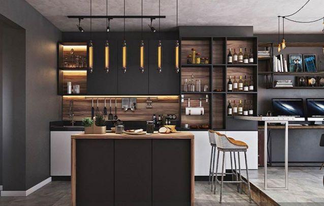 Cozinha americana integrada ao home office