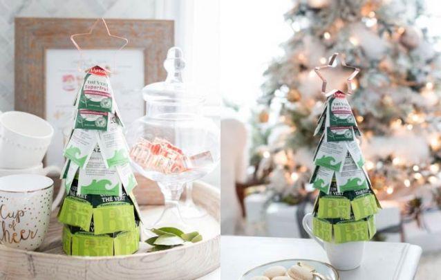 E para a sua mesa de natal, aposte em um pinheiro feito com pacotes de chá
