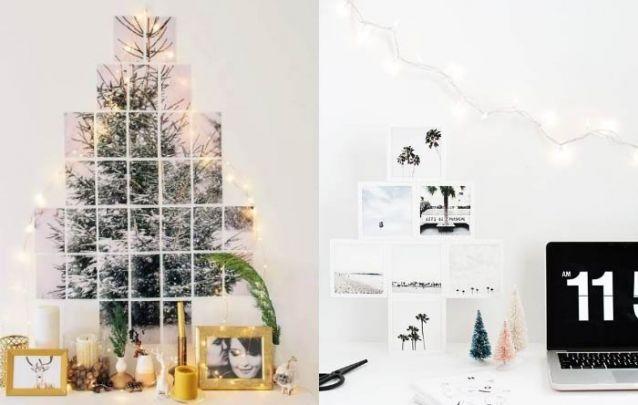 Uma colagem com fotos é capaz de criar um lindo pinheiro de natal
