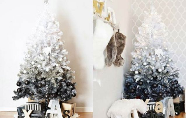 Arvore natalina ombré em preto e branco