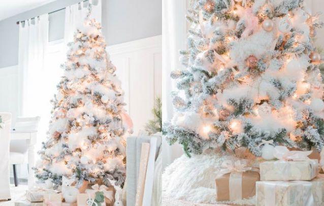 Rose e branco, uma combinação feminina e atual para uma decoração de natal