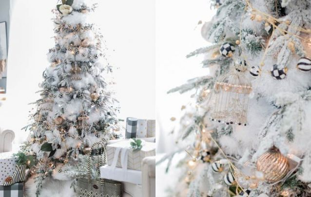 As bolinhas brancas e pretas trazem um toque surpreendente para esta decoração com dourado