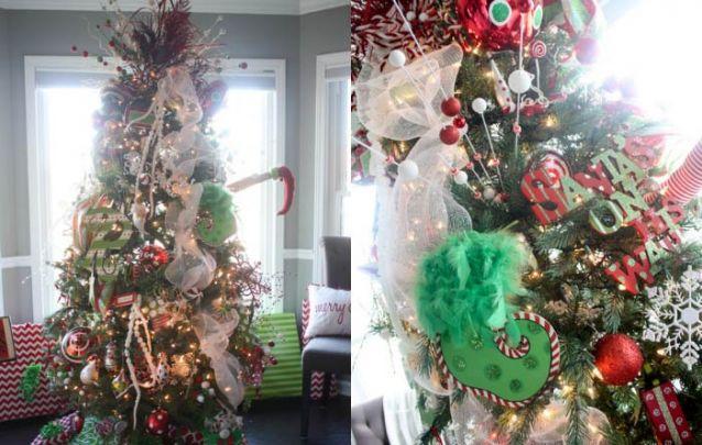 Uma arvore divertida e despojada repleta de símbolos natalinos