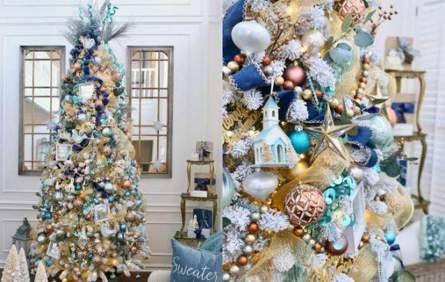 Tons de azul, dourado e prata foram as cores escolhidas para esta arvore de natal