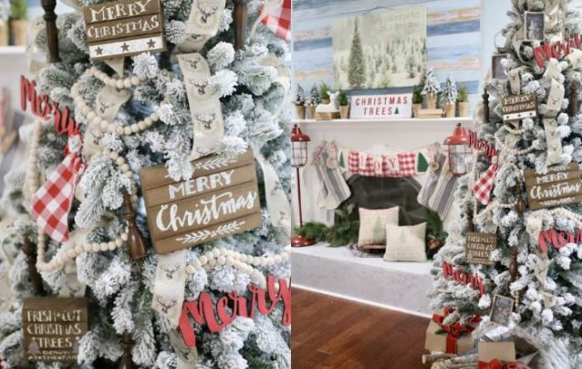 Para uma decoração de natal rústica, xadrez vermelho e branco junto de algumas peças em madeira