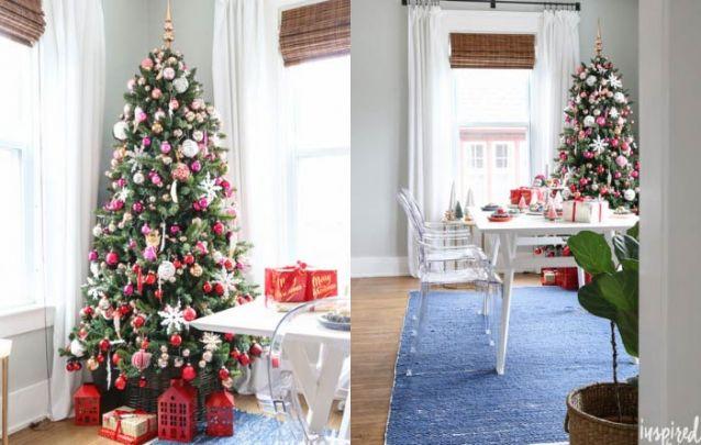 Dourado, vermelho, rosa e branco criam uma bela combinação para o natal