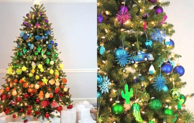 Que tal apostar nas cores do arco-íris para a decoração do seu pinheiro de natal?