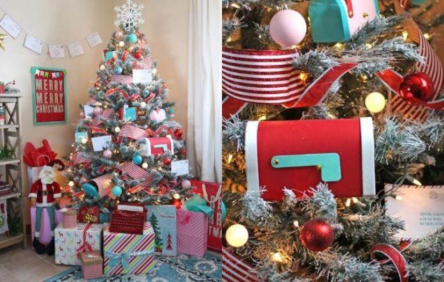 Cartas para o Papai Noel foi o tema escolhido para este pinheiro de natal