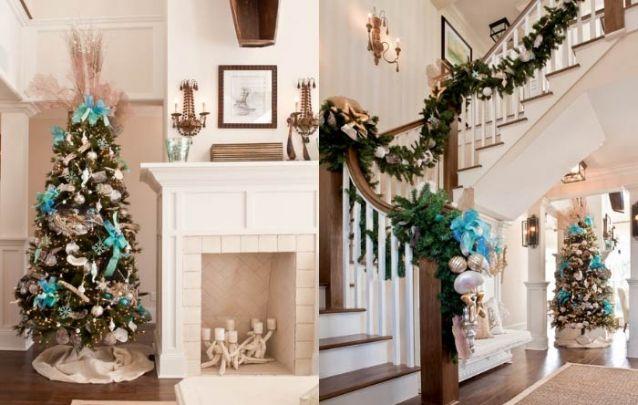 E para uma casa de praia, siga uma decoração de natal que traga elementos marinhos