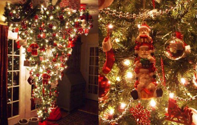 E o que você acha desta arvore de natal invertida com uma decoração cheia de papai Noel?
