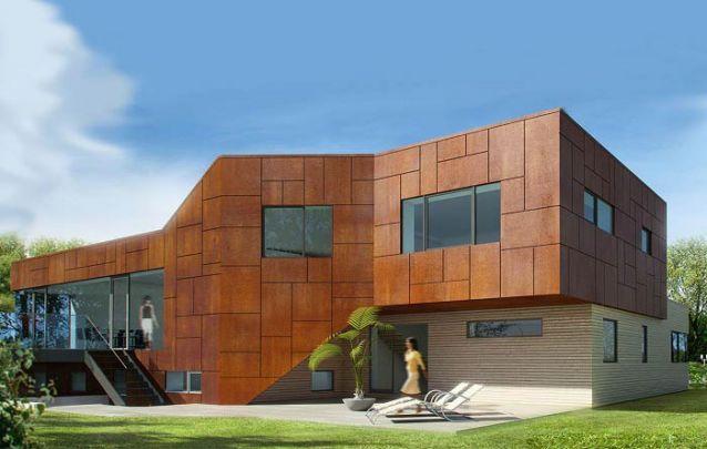 Se você está é busca de fachadas de casas modernas, esta é uma opção original