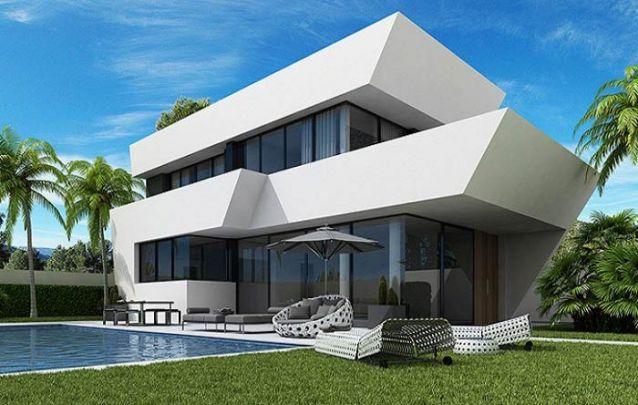 Linhas diagonais criam um acabamento diferenciado nesta casa modernista