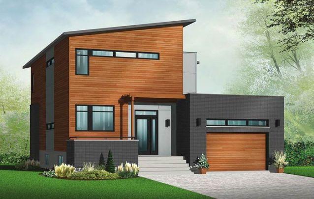 O telhado inclinado valoriza o design moderno da casa