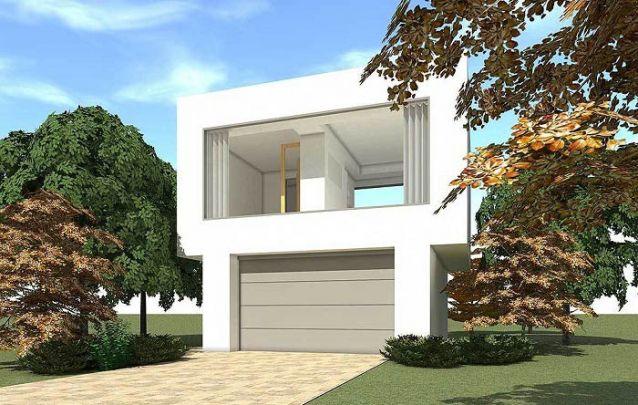 Pequena casa moderna com design despojado