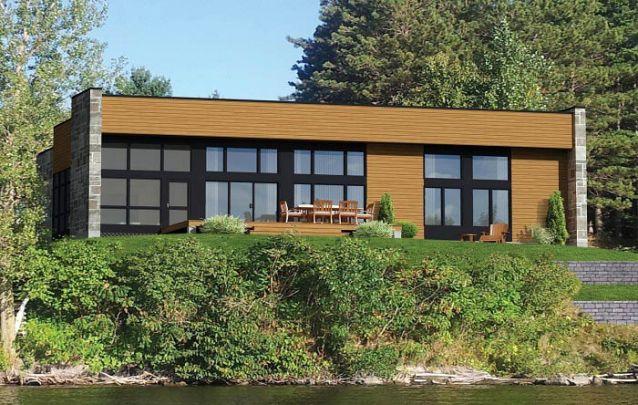 Casa moderna com deck frontal para o lago