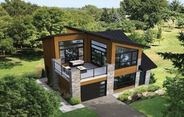 Casa moderna com telhado inclinado e área externa no segundo andar