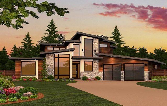 Casa moderna com telhados inclinado em diferentes alturas
