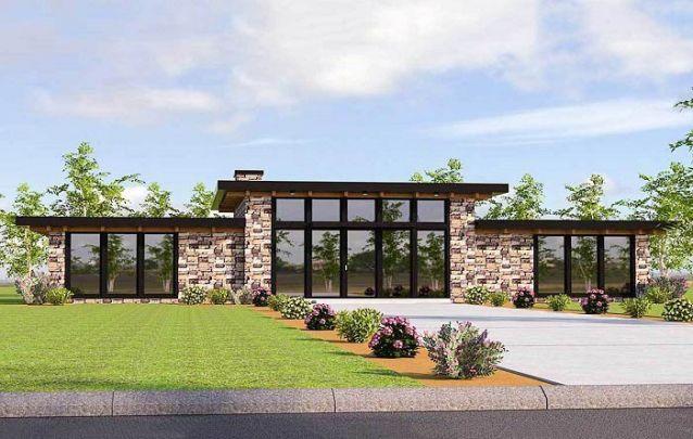Casa moderna com revestimento externo feito com pedras