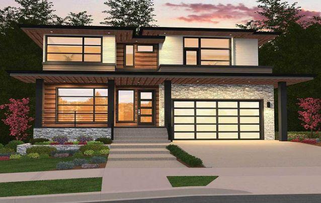 Fachada de casa moderna com diferentes materiais