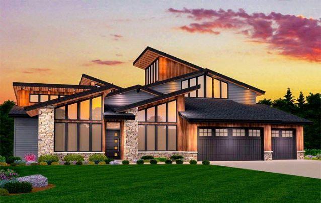 Sofisticada e diferente, esta casa moderna é ótima para quem busca um projeto único e amplo
