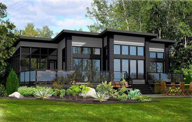 O preto também é uma opção para valorizar o exterior de casas modernas